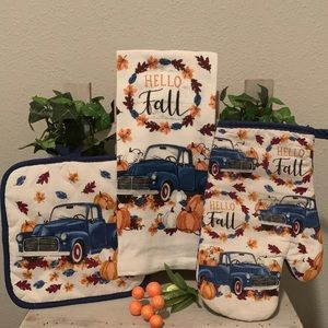 Fall harvest rustic truck kitchen towel set